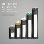 Cylindrical flow chart infographic elements Stock Illustration