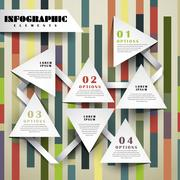 Paper triangle flowchart infographic elements Stock Illustration