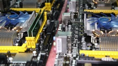 Motherboards prepared for assembly of computers. Stock Footage