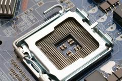 Hardware. Photo of processor on motherboard Stock Photos