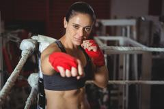 Confident female boxer performing boxing stance Confident female boxer Stock Photos