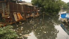 Dirty pond in the Ho Chi Minh city in Vietnam Stock Footage