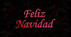 "Merry Christmas text in Spanish ""Feliz Navidad"" turns to dust from bottom on Stock Footage"