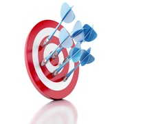3d Arrows hitting target. Success concept Arkistovideo
