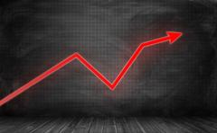 Upward trending bright red zigzag arrow on checkered black wall Stock Illustration