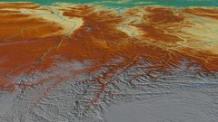 Glide over Qinling mountain range - masks. Relief map Stock Footage