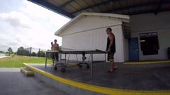 Two men playing table tennis ping pong. Arkistovideo