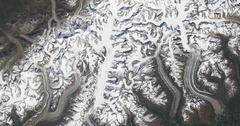 High-altitude overflight aerial of Denali, and the heart of the Alaska Range Stock Footage