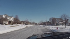 Driving car on roads during cold snowy winter day Stock Footage