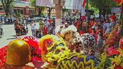 Schoolchildren Dance in Fancy Lion Dress on Sidewalk Stock Footage
