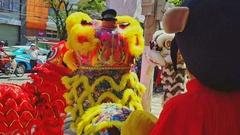 Closeup Boys Dance in Fancy Lion Dress in Street Vietnam Stock Footage