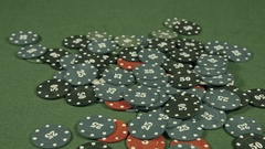 Casino, cards falling on the chips Stock Footage