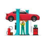 Car repair shop station, repairman, auto diagnostics tools, mechanic workshop Stock Illustration