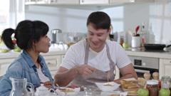 Family Couple Having Romantic Dinner Stock Footage