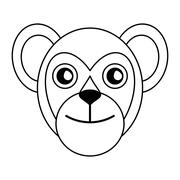 Breasted capuchin primate brazil fauna outline Stock Illustration