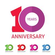 Anniversary 10th  logo template with shadow on circle number 1 Stock Illustration