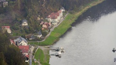 German houses and boats on Elbe river, view from Bastei, Saxon, Germany Stock Footage