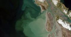 High-altitude overflight aerial of Copper River Delta, Gulf Of Alaska Stock Footage