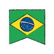 Brasilian flag hanging symbol draw Stock Illustration