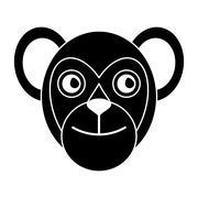 Capuchin primate brazil fauna pictogram Stock Illustration