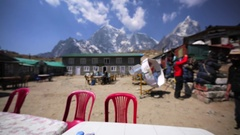Tobuche and Cholatse mountains. Himalayas. Dal Bhat and garlic soup on the table Stock Footage