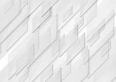 White and grey tech motion shapes design Stock Illustration