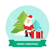 Santa Claus gift box, Merry Christmas card, New Year delivery Stock Illustration