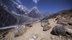 Dingboche-Lobuche path in Khumbu valley, Nepal, Himalaya. Great mountains Stock Footage