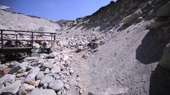 Dingboche-Lobuche path in Khumbu valley, Nepal, Himalaya.Bridge across the river Stock Footage