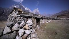 Abandoned village on Dingboche-Lobuche path in Khumbu valley, Himalaya, Nepal Stock Footage