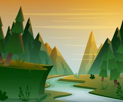 Cartoon forest landscape with mountains, river and fir-trees. Stock Illustration