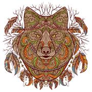 Wolf head with tribal aztec ornament in boho style. Stock Illustration