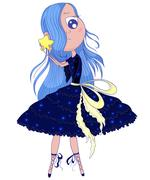 Cute anime ballerina with blue hair in tutu holding in her hands star. Piirros
