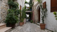 Narrow Streets With Old Small Buildings Are in Pano Lefkara. Cyprus Stock Footage