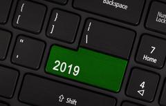 Text 2019 button Stock Photos