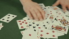 Casino, the dealer interferes with playing cards Stock Footage