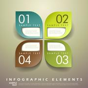 Abstract 3d leaf tag infographics Stock Illustration