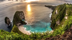 Sunset Clouds Kelingking Beach Nusa Penida Timelapse 4k Stock Footage