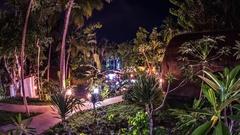 Nusa Penida Indonesia Beautiful Palm Resort Pool Night Timelapse 4k Stock Footage