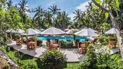 Nusa Penida Indonesia Beautiful Palm Resort Pool Timelapse 4k Stock Footage