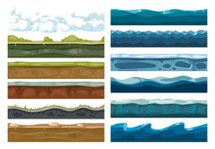 Set of landscape land, sea and cloud backgrounds Stock Illustration