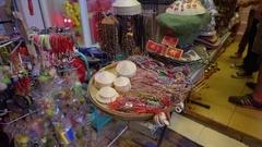 Women sells souvenirs at Pham Ngu Lao famous street Stock Footage