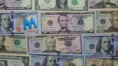 Merry Christmas Letters On Dollars Banknotes Stock Footage
