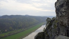 Elbe river, lush green forest, view from mountain, Bastei, Saxon, Germany Stock Footage