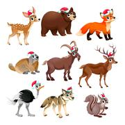 Funny Christmas animals Stock Illustration
