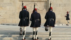 4K Evzoni Athens Greece changing of the guard soldier parliament and unknown Stock Footage