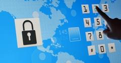 4k Fingers press the button,bigital lock open,tech global map background. Stock Footage