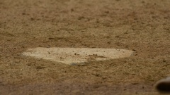 Detail of home plate at a baseball game. Stock Footage