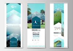 Roll up banner stands, flat design, abstract geometric templates, modern Stock Illustration