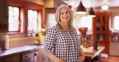 Charming mid aged woman modeling smiling Stock Footage